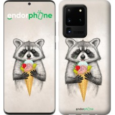 Чехол на Samsung Galaxy S20 Ultra Енотик с мороженым 4602u-1831